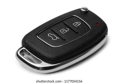 Car key on white background
