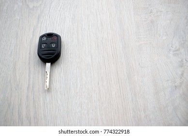 Car key on the wooden table
