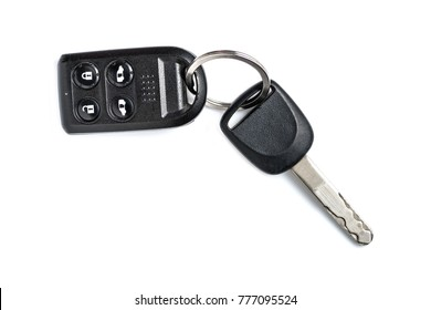 Car key with remote control isolated on white background