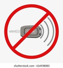 Car key remote control. No signal. Flat  illustration isolated on white background