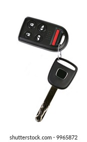 Car Key with Remote on Isolated Background