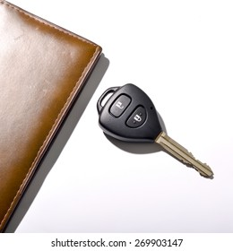 car key with wallet isolated on white background