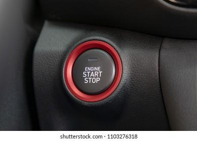 car keyless start stop button, car interior