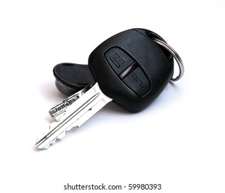 Car keys, objects isolated on white background .
