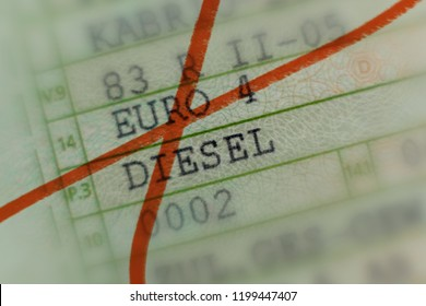 Car license crossed out with red marker, car worthless by the diesel scandal in Germany, passenger cars, diesel Euro 4 hits the driving ban in German cities