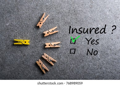 Car, life insurance, home, travel and healt insurance. Insure concept. Survey with question Insured? Yes or no.
