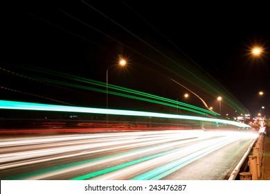 car light on the road at bangkok , thailand