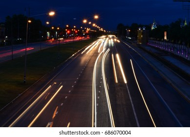 Car light on the street at night