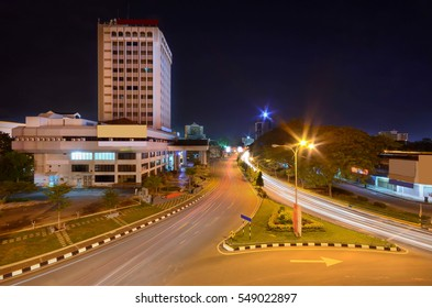 Car light trail in beautiful cityscape at night
