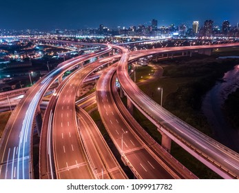 Car Light Trails of Chongcui Bridge - Long exposure of aerial photography use the drone at night in New Taipei, Taiwan.