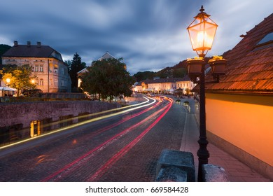 Car light trails leading to a main square in Samobor