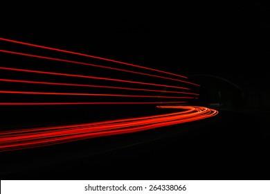 Car light trails. Long exposure photo taken in a tunnel below Veliko Tarnovo