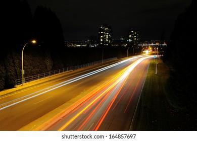 car light trails at night