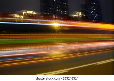 Car light trails on road. Long exposure photo
