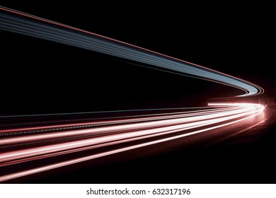 Car light trails on the road