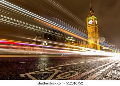 Car light trails over Big Ben, London.