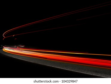 Car light trails in the tunnel. Very art image . Long exposure photo taken in a tunnel below Veliko Tarnovo
