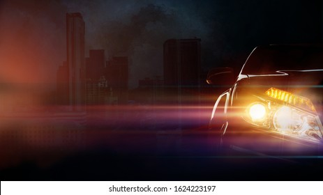Car lighting on dark city background