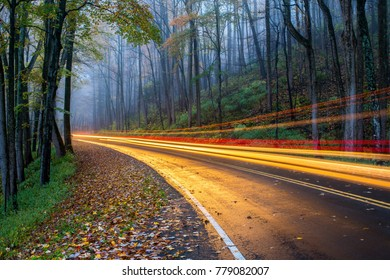 Car Lights in Great Smoky Mountains National Park