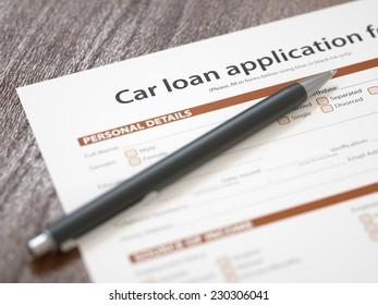 Car loan application with pen