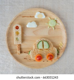 car lunch plate, fun food art for kids