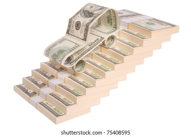 car made of dollars on stack of $100 bills arranged in stairs form. Isolated on white. Clipping path included.