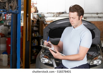 Car Mechanic Working  In Auto Repair Shop