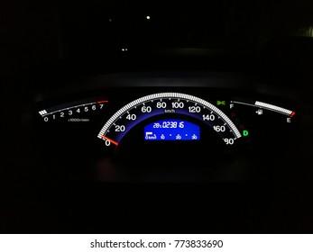 Car Mileage, Interior of a modern car.