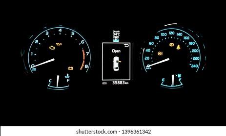Car mileage on dark background