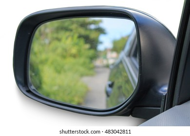 Car Mirror reflect green grass on white background