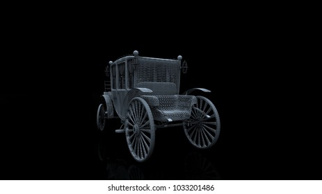 car model body structure, wire model with Reflect 3d rendering old car