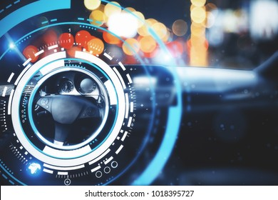 Car with modern digital interface on bokeh background. Transport and future concept. Double exposure