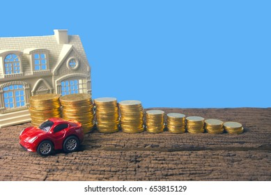 car with money and home