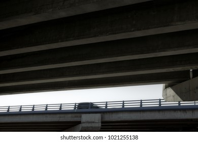 Car in motion seen from below the bridge. Abstract background.