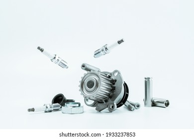 Car motor parts. Auto motor mechanic spare or automotive piece on white background. Set of new metal car part. Repair and vehicle service