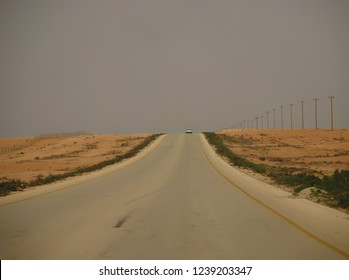 A car moves on the Tobruk road to Benghazi. The Arab Spring begins. Benghazi, Libya, April 6, 2011.