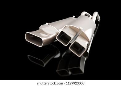 car muffler on a black background 3D illustration, 3D rendering
