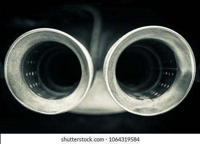 Car mufflers close up