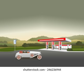 car next to the petrol station