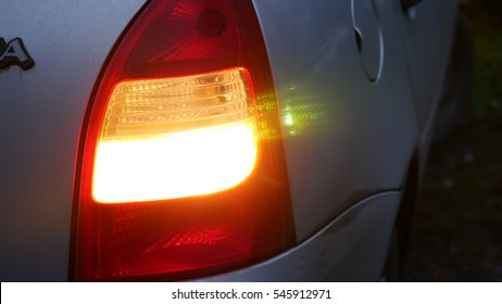 car night machine back blinker light turn beautiful city highlight road safety