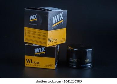 car oil filter wix. Wix filter. oil filter for car on black background