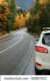 Car on asphalt road in colorful autumn forest. Focus on car.
