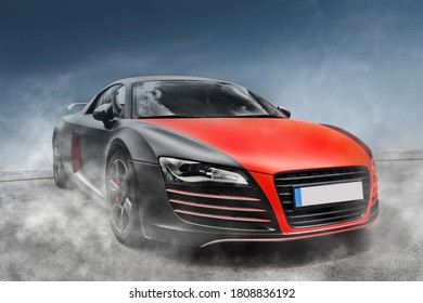 Car on a background of clear sky. Car in smoke