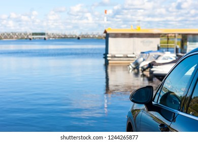 The car on the background of the river