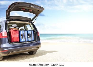 car on beach