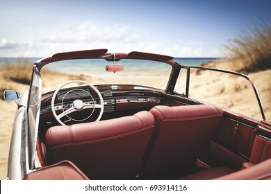 car on beach and summer time