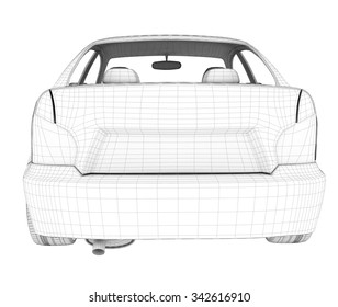 Car on isolated white background, back view
