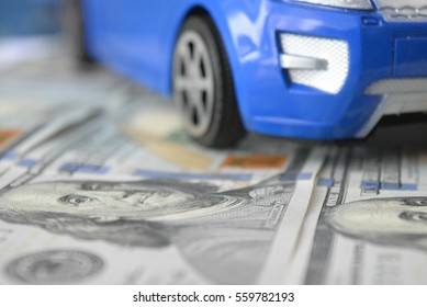 A car on money background