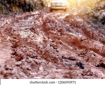 Car on a mud road in forest. Off-road tire covered with mud,