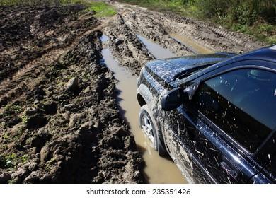 car on a muddy road